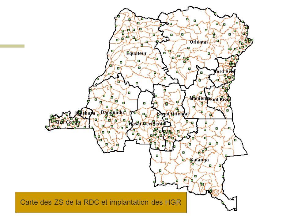 ZS population < 100.000 habitants (2007) ProvincesNbre ZSPopul<% % 100.000 hab.Sans HGR Bandundu521121% 2 4% Bas Congo312168% 0 0% Équateur693855% 22 32% Kasaï Occidental43716% 0 0% Kasaï Oriental491327% 6 12% Katanga672233% 1 1% Kinshasa35720% 3 9% Maniema181161% 7 39% Nord Kivu34618% 5 15% Province Orientale833745% 27 34% Sud Kivu34824% 1 3% TOTAL51518135%7515%