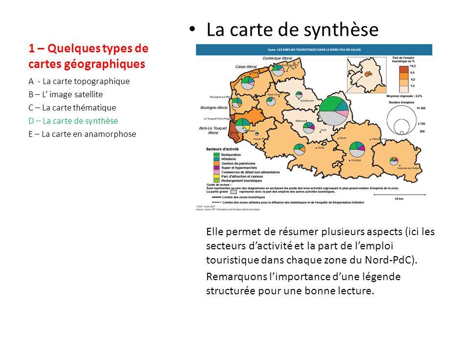 1 – Quelques types de cartes géographiques La carte thématique Elle permet de représenter un thème (ici les régions françaises).
