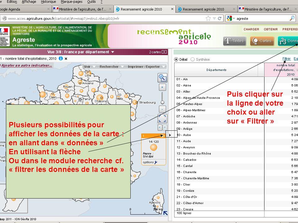 septembre 2012 Plusieurs possibilités pour afficher les données de la carte : en allant dans « données » En utilisant la flèche Ou dans le module recherche cf.