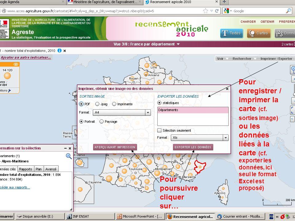 septembre 2012 Pour enregistrer / imprimer la carte (cf. sorties image) ou les données liées à la carte (cf. exporter les données, ici seul le format