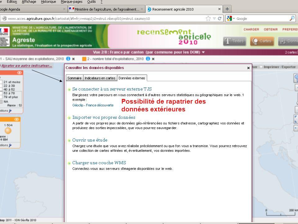septembre 2012 Possibilité de rapatrier des données extérieures
