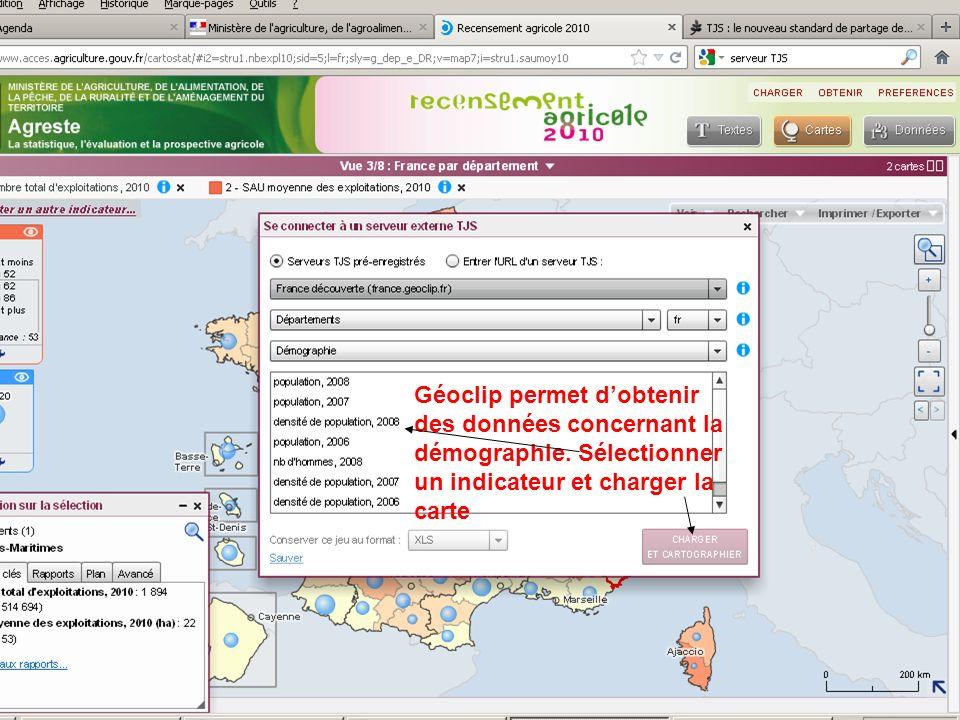 septembre 2012 Géoclip permet dobtenir des données concernant la démographie. Sélectionner un indicateur et charger la carte