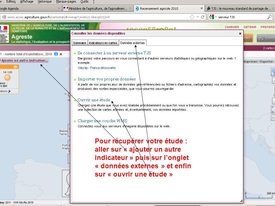 septembre 2012 Pour récupérer votre étude : aller sur « ajouter un autre indicateur » puis sur longlet « données externes » et enfin sur « ouvrir une étude »