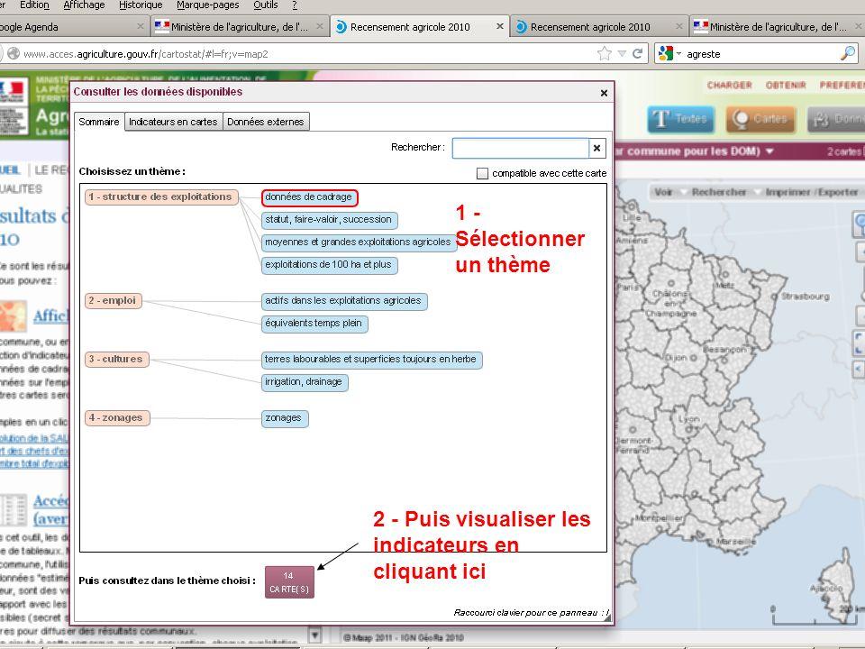 septembre 2012 2 - Puis visualiser les indicateurs en cliquant ici 1 - Sélectionner un thème