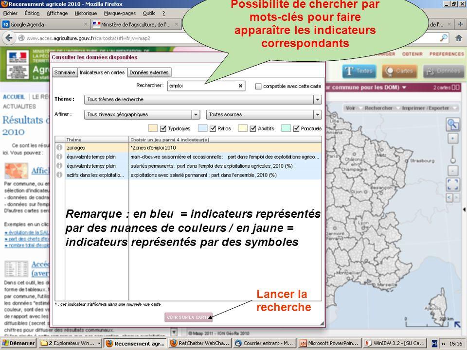 septembre 2012 Ou choix dun indicateur directement en cliquant sur une ligne dans la liste Lancer la recherche