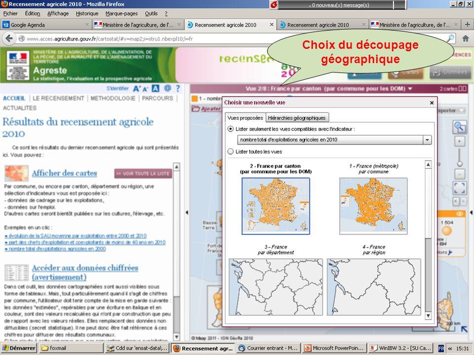 Choix du découpage géographique