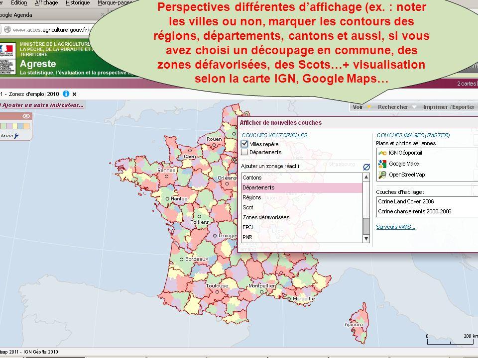 septembre 2012 Perspectives différentes daffichage (ex. : noter les villes ou non, marquer les contours des régions, départements, cantons et aussi, s