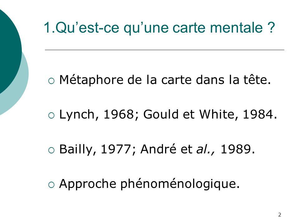 2 1.Quest-ce quune carte mentale ? Métaphore de la carte dans la tête. Lynch, 1968; Gould et White, 1984. Bailly, 1977; André et al., 1989. Approche p