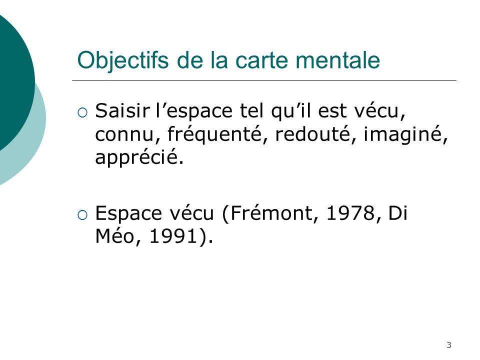 3 Objectifs de la carte mentale Saisir lespace tel quil est vécu, connu, fréquenté, redouté, imaginé, apprécié. Espace vécu (Frémont, 1978, Di Méo, 19