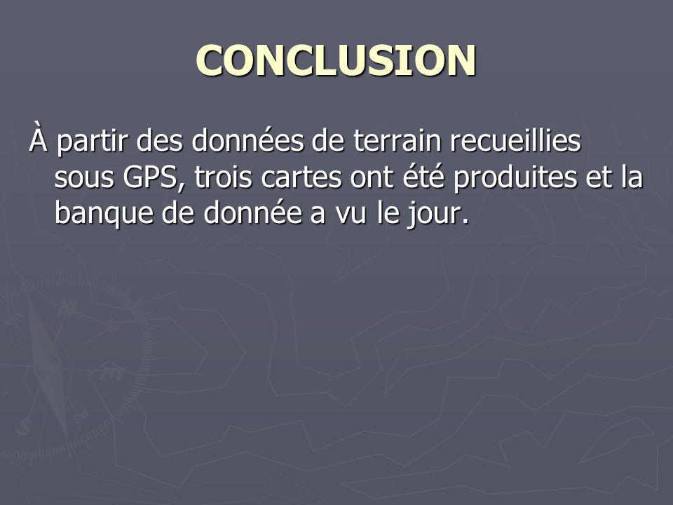 CONCLUSION À partir des données de terrain recueillies sous GPS, trois cartes ont été produites et la banque de donnée a vu le jour.