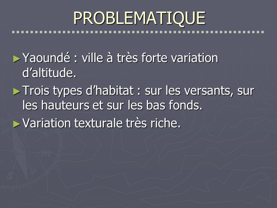 PROBLEMATIQUE Yaoundé : ville à très forte variation daltitude.
