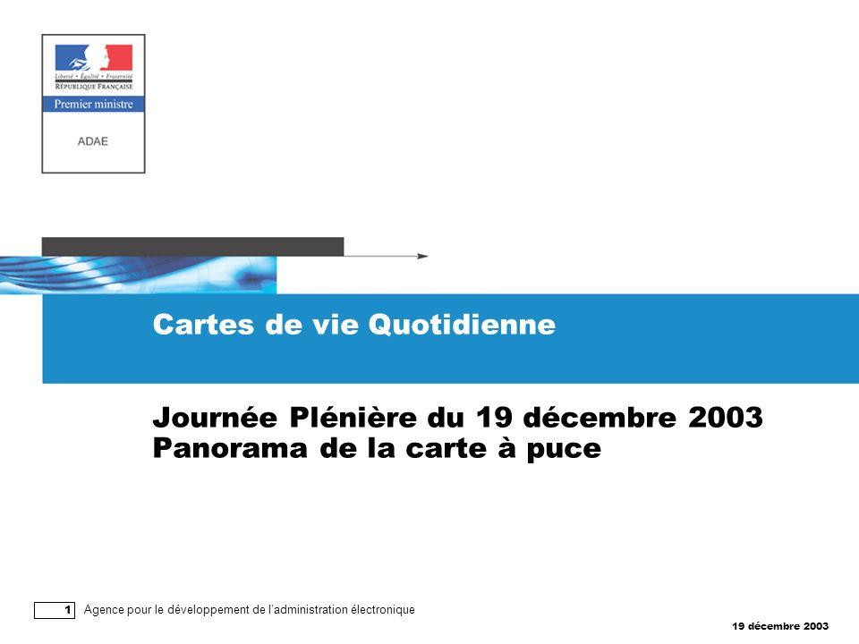 19 décembre 2003 Agence pour le développement de ladministration électronique 1 Cartes de vie Quotidienne Journée Plénière du 19 décembre 2003 Panorama de la carte à puce
