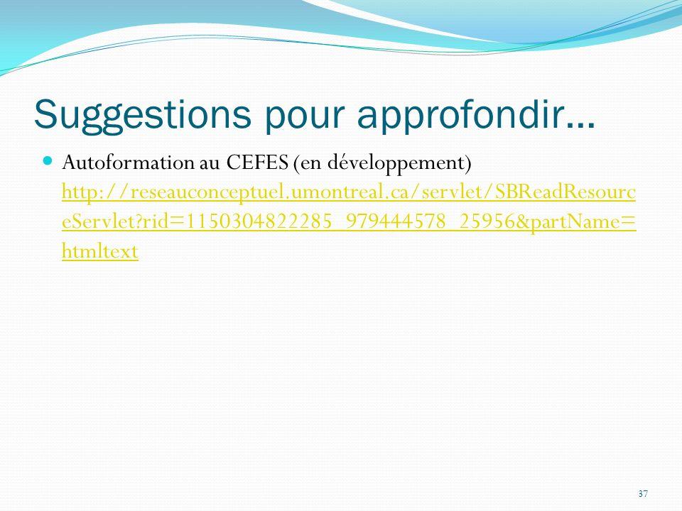 37 Suggestions pour approfondir… Autoformation au CEFES (en développement) http://reseauconceptuel.umontreal.ca/servlet/SBReadResourc eServlet?rid=1150304822285_979444578_25956&partName= htmltext http://reseauconceptuel.umontreal.ca/servlet/SBReadResourc eServlet?rid=1150304822285_979444578_25956&partName= htmltext