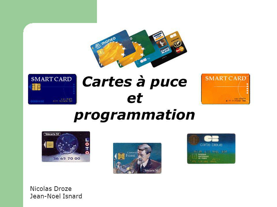 Architecture Peu de memoire –1Ko de RAM, 16Ko d EEPROM et de 24Ko de ROM –Supporte un sous-ensemble du langage Java –Machine virtuelle en 2 étapes (On-card et Off-card) Java Card Runtime Environment –Machine virtuelle Javacard –APIs –Méthodes natives JavaCard
