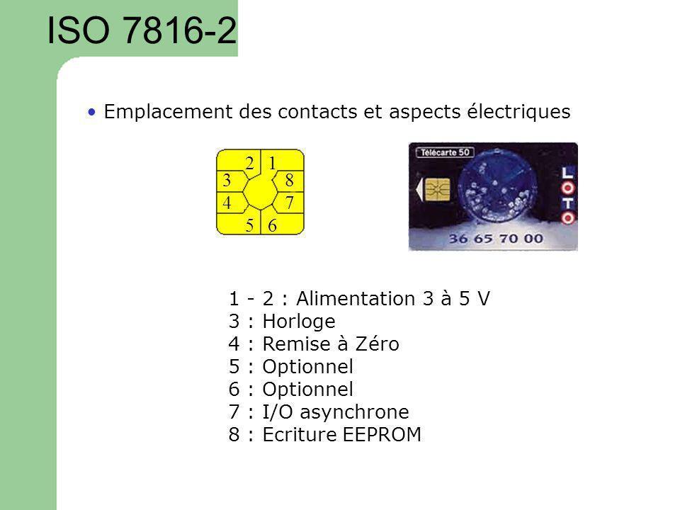 ISO 7816-2 12 3 4 56 7 8 1 - 2 : Alimentation 3 à 5 V 3 : Horloge 4 : Remise à Zéro 5 : Optionnel 6 : Optionnel 7 : I/O asynchrone 8 : Ecriture EEPROM