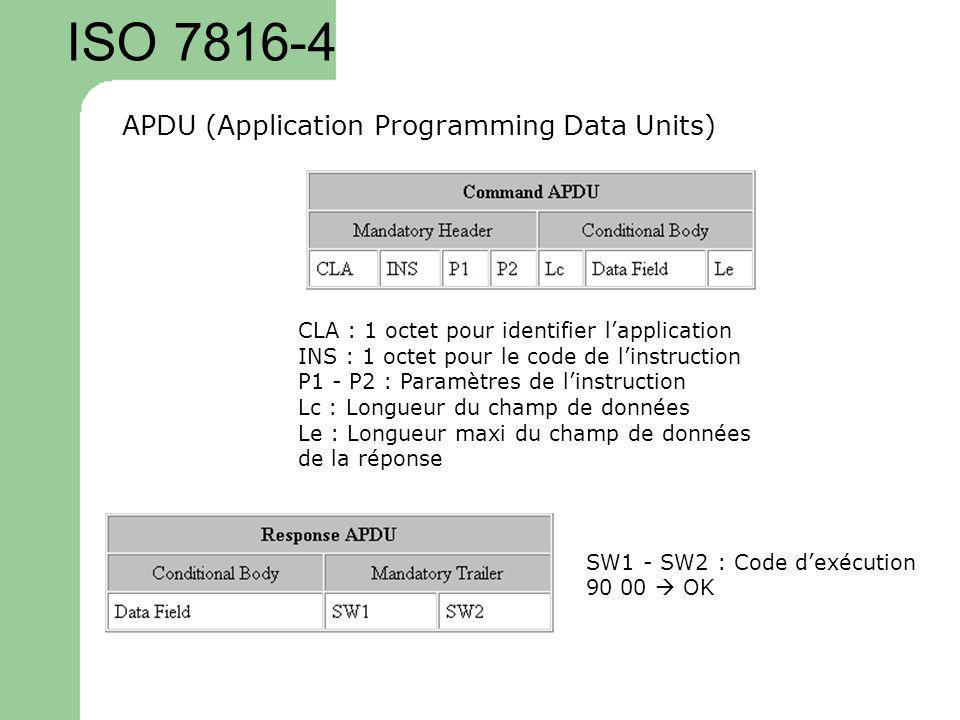 ISO 7816-4 APDU (Application Programming Data Units) CLA : 1 octet pour identifier lapplication INS : 1 octet pour le code de linstruction P1 - P2 : P