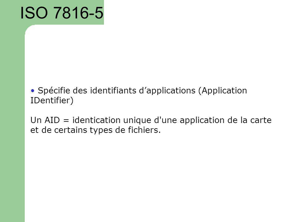 ISO 7816-5 Spécifie des identifiants dapplications (Application IDentifier) Un AID = identication unique d'une application de la carte et de certains