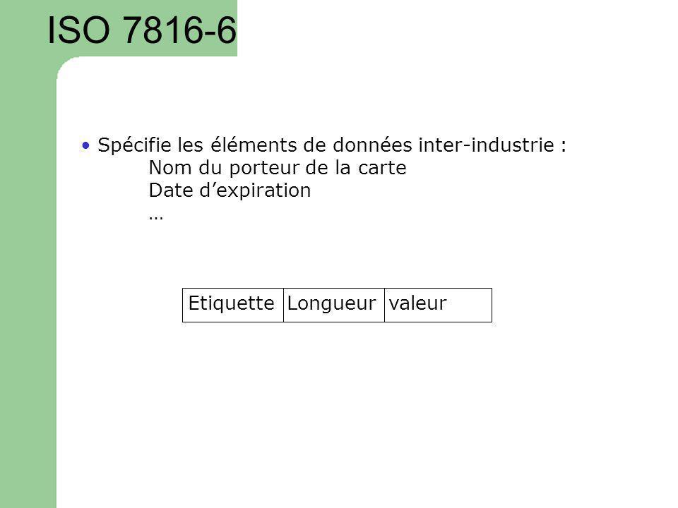 ISO 7816-6 Spécifie les éléments de données inter-industrie : Nom du porteur de la carte Date dexpiration … Etiquette Longueur valeur