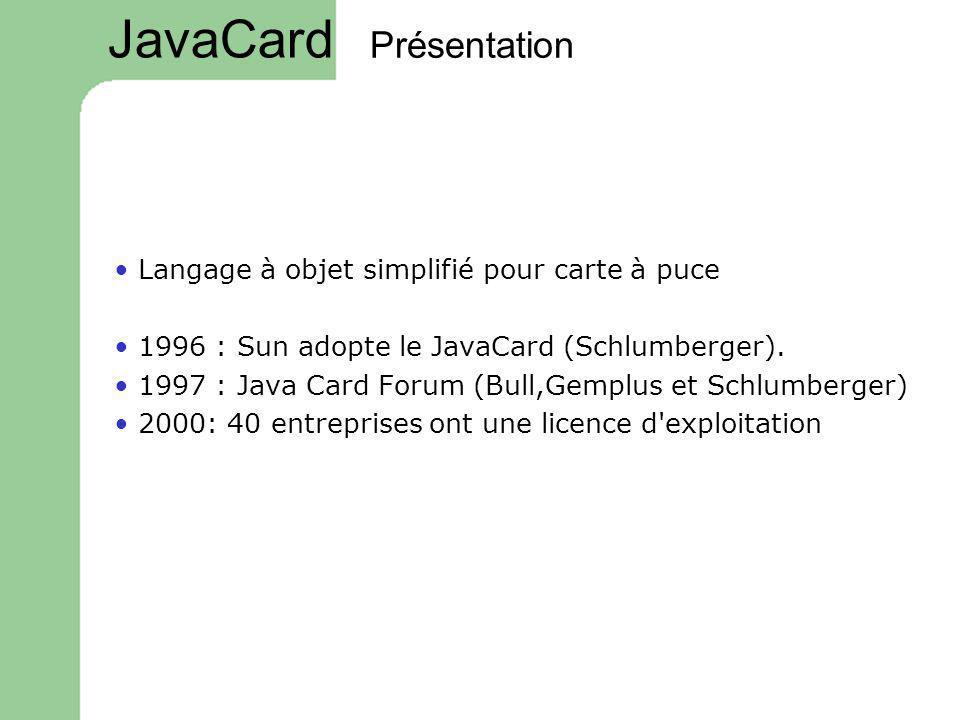 Présentation Langage à objet simplifié pour carte à puce 1996 : Sun adopte le JavaCard (Schlumberger). 1997 : Java Card Forum (Bull,Gemplus et Schlumb