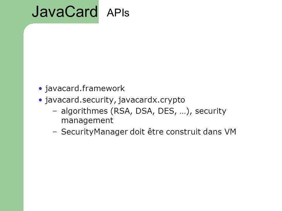 APIs javacard.framework javacard.security, javacardx.crypto –algorithmes (RSA, DSA, DES, …), security management –SecurityManager doit être construit