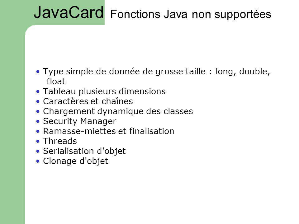 Fonctions Java non supportées Type simple de donnée de grosse taille : long, double, float Tableau plusieurs dimensions Caractères et chaînes Chargeme