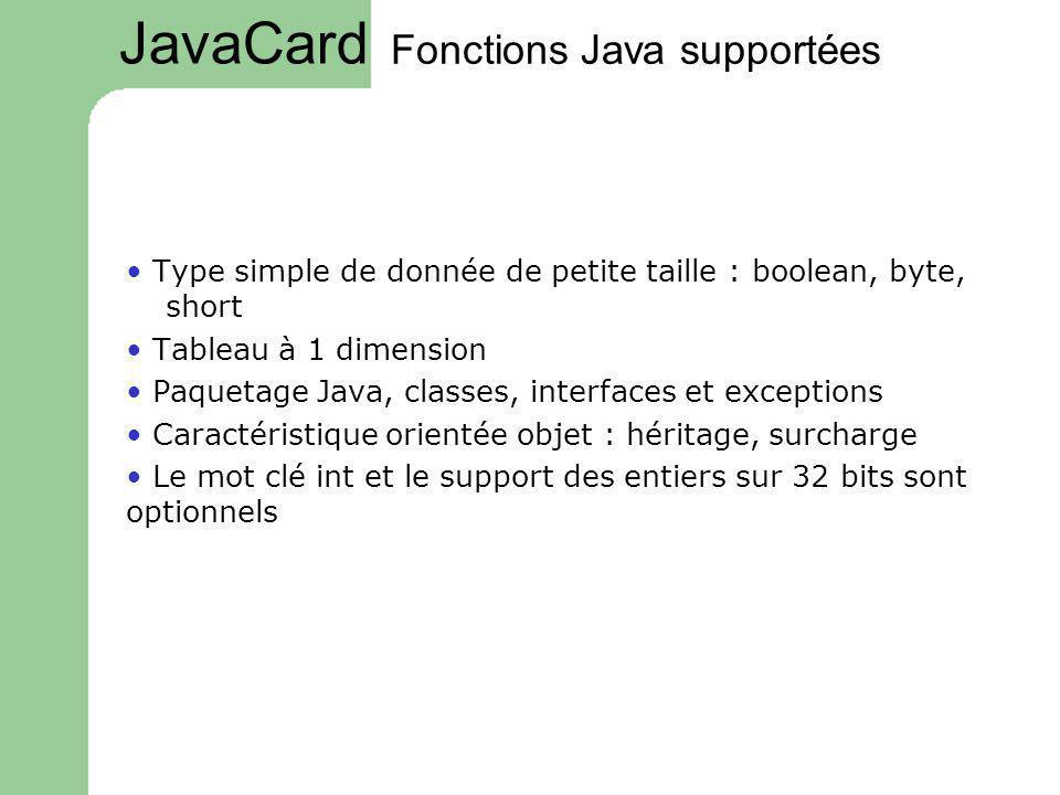 Fonctions Java supportées Type simple de donnée de petite taille : boolean, byte, short Tableau à 1 dimension Paquetage Java, classes, interfaces et e