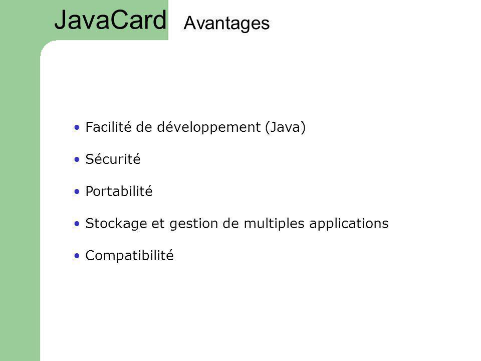 Avantages Facilité de développement (Java) Sécurité Portabilité Stockage et gestion de multiples applications Compatibilité