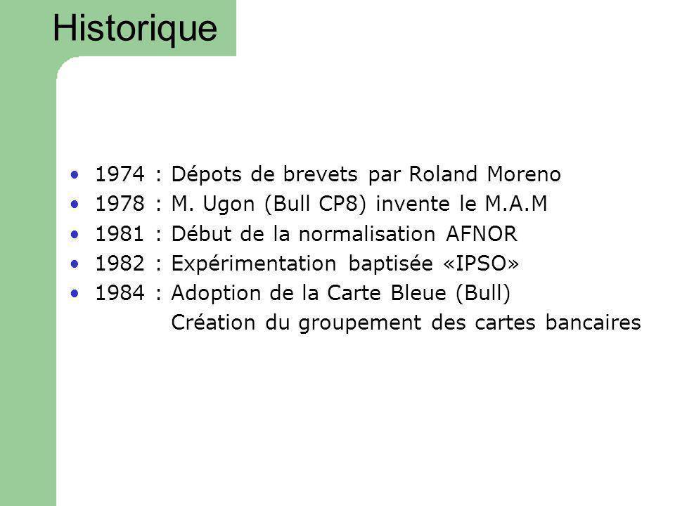 Historique 1974 : Dépots de brevets par Roland Moreno 1978 : M. Ugon (Bull CP8) invente le M.A.M 1981 : Début de la normalisation AFNOR 1982 : Expérim