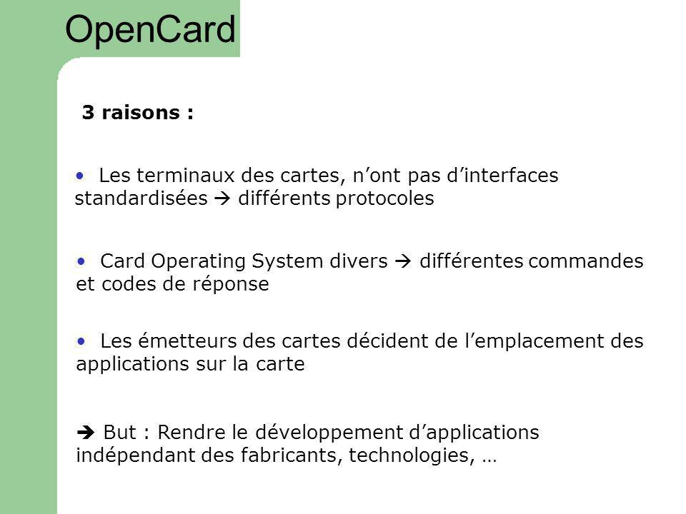 OpenCard 3 raisons : Les terminaux des cartes, nont pas dinterfaces standardisées différents protocoles Card Operating System divers différentes comma