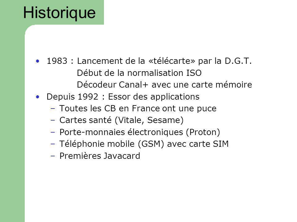 Historique 1983 : Lancement de la «télécarte» par la D.G.T. Début de la normalisation ISO Décodeur Canal+ avec une carte mémoire Depuis 1992 : Essor d