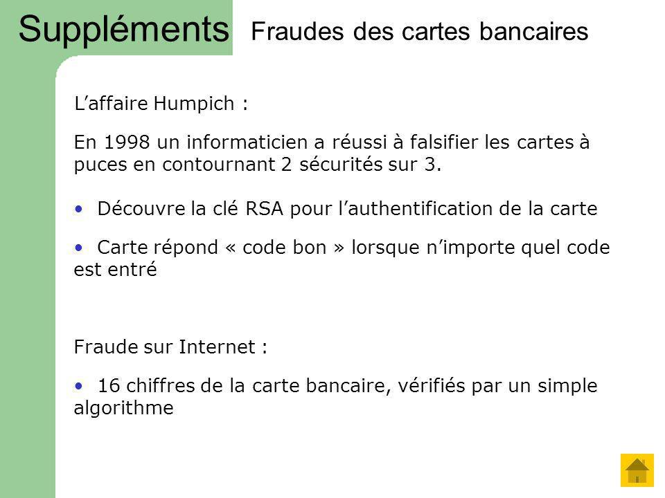 Fraudes des cartes bancaires En 1998 un informaticien a réussi à falsifier les cartes à puces en contournant 2 sécurités sur 3. Carte répond « code bo