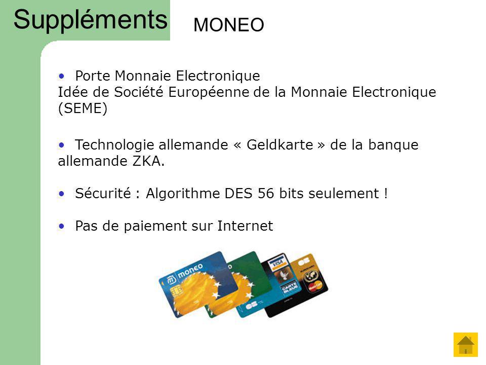 MONEO Technologie allemande « Geldkarte » de la banque allemande ZKA. Sécurité : Algorithme DES 56 bits seulement ! Porte Monnaie Electronique Idée de