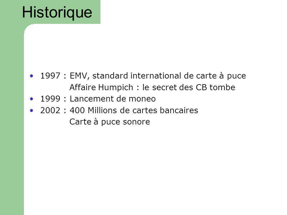 Historique 1997 : EMV, standard international de carte à puce Affaire Humpich : le secret des CB tombe 1999 : Lancement de moneo 2002 : 400 Millions d