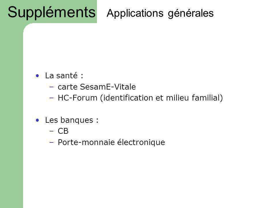 Applications générales La santé : –carte SesamE-Vitale –HC-Forum (identification et milieu familial) Les banques : –CB –Porte-monnaie électronique Sup