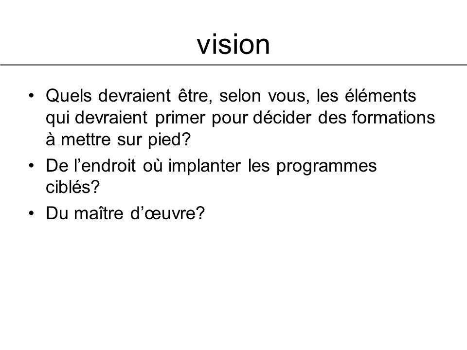 vision Quels devraient être, selon vous, les éléments qui devraient primer pour décider des formations à mettre sur pied.