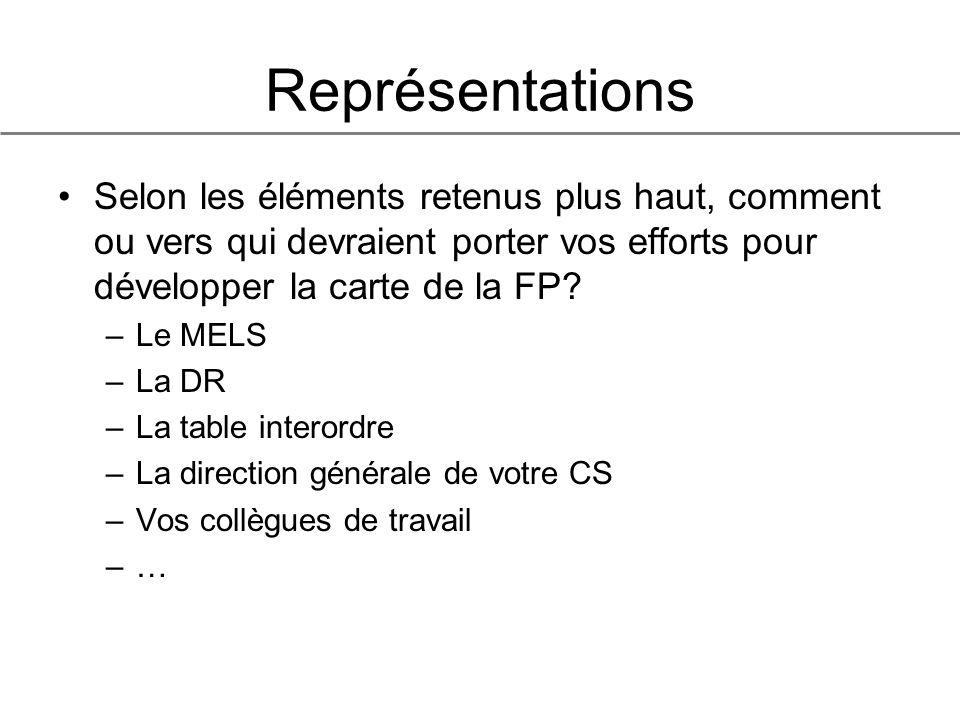 Représentations Selon les éléments retenus plus haut, comment ou vers qui devraient porter vos efforts pour développer la carte de la FP.