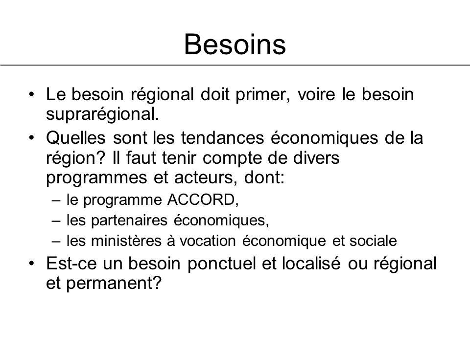 Besoins Le besoin régional doit primer, voire le besoin suprarégional.