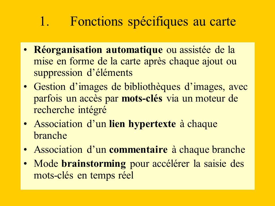 1. Fonctions spécifiques au carte Réorganisation automatique ou assistée de la mise en forme de la carte après chaque ajout ou suppression déléments G