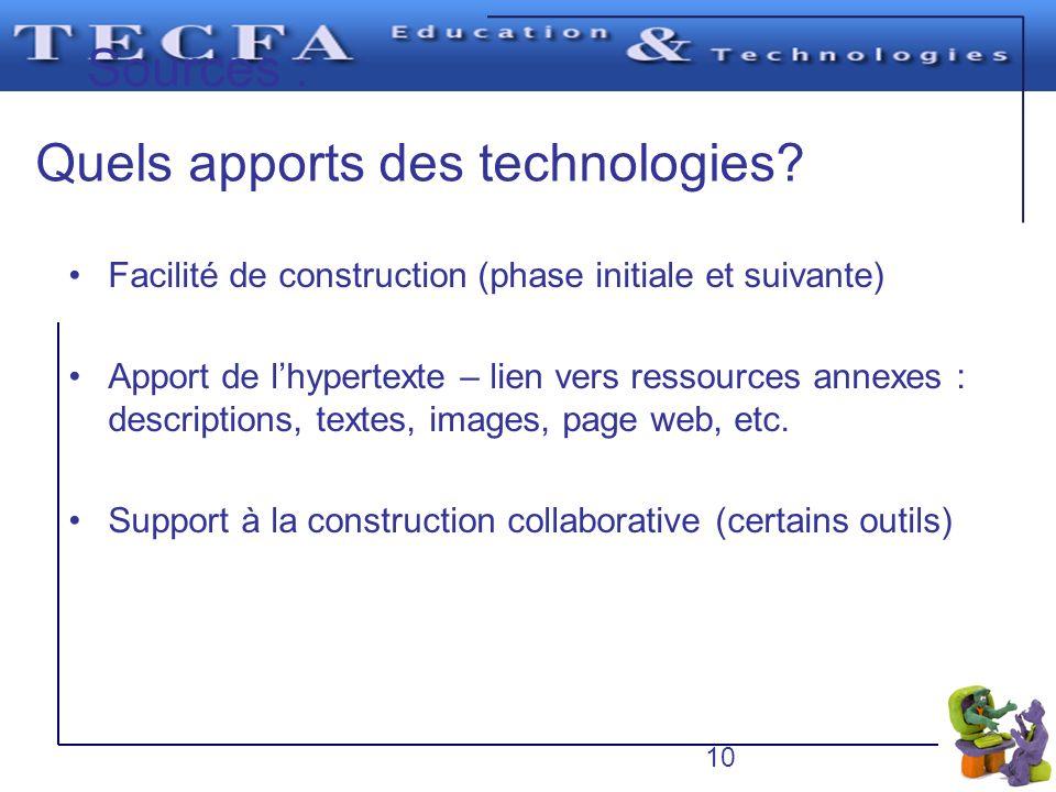 Sources : Quels apports des technologies? Il faut placer un seul concept de premier niveau en haut de la feuille. Les concepts de différents niveaux d