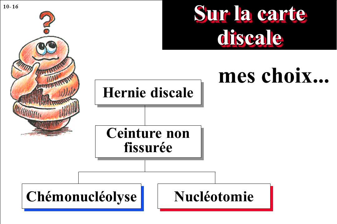 10- 16 Sur la carte discale Hernie discale Chémonucléolyse Nucléotomie Ceinture non fissurée mes choix...