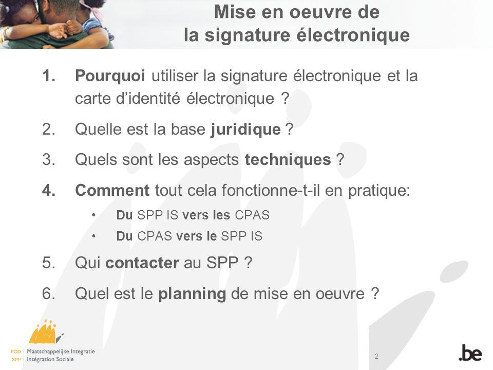 2 Mise en oeuvre de la signature électronique 1.Pourquoi utiliser la signature électronique et la carte didentité électronique ? 2.Quelle est la base