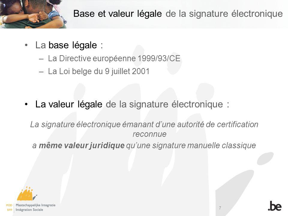 7 Base et valeur légale de la signature électronique La base légale : –La Directive européenne 1999/93/CE –La Loi belge du 9 juillet 2001 La valeur lé