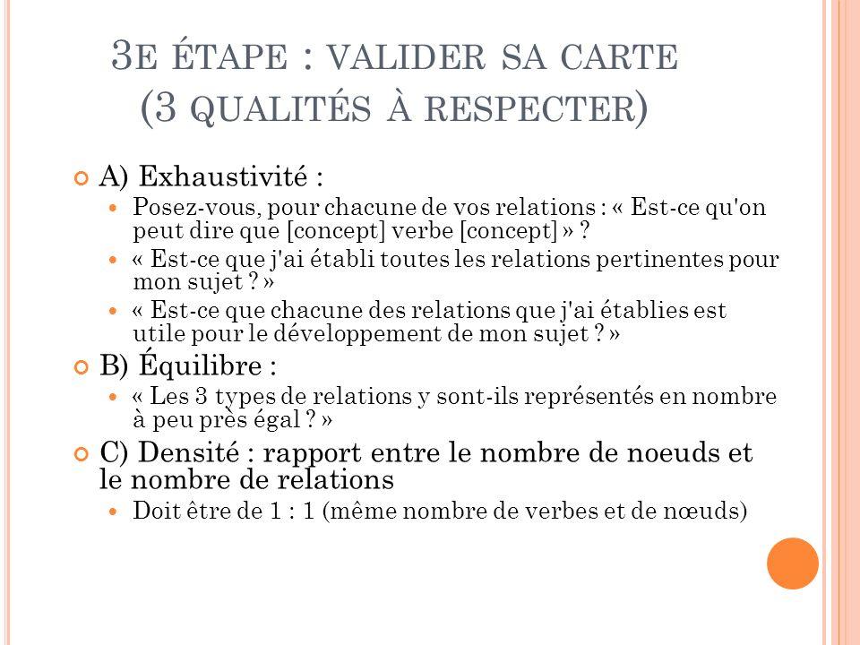 3 E ÉTAPE : VALIDER SA CARTE (3 QUALITÉS À RESPECTER ) A) Exhaustivité : Posez-vous, pour chacune de vos relations : « Est-ce qu'on peut dire que [con