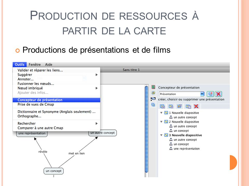 P RODUCTION DE RESSOURCES À PARTIR DE LA CARTE Productions de présentations et de films