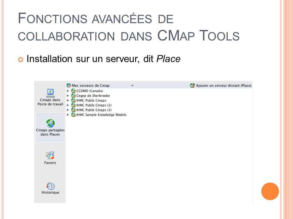F ONCTIONS AVANCÉES DE COLLABORATION DANS CM AP T OOLS Installation sur un serveur, dit Place