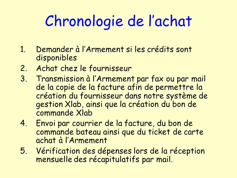 Chronologie de lachat 1.Demander à lArmement si les crédits sont disponibles 2.Achat chez le fournisseur 3.Transmission à lArmement par fax ou par mai