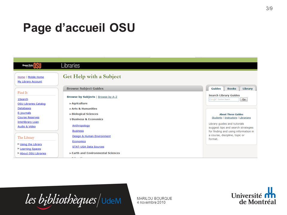 Page daccueil OSU MARILOU BOURQUE 4 novembre 2010 3/9