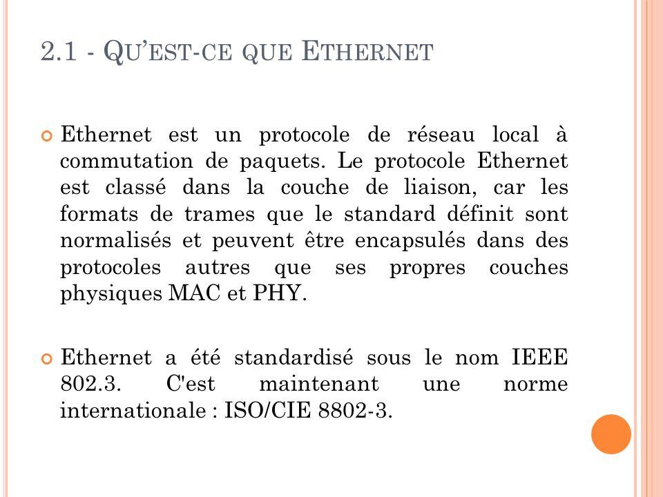 2.1 - Q U EST - CE QUE E THERNET Ethernet est un protocole de réseau local à commutation de paquets.