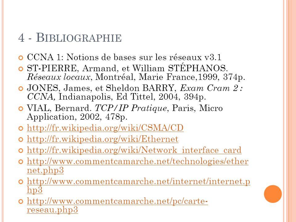 4 - B IBLIOGRAPHIE CCNA 1: Notions de bases sur les réseaux v3.1 ST-PIERRE, Armand, et William STÉPHANOS.