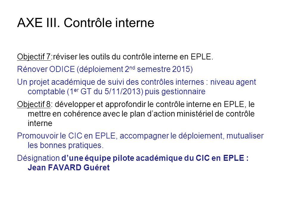 AXE III. Contrôle interne Objectif 7:réviser les outils du contrôle interne en EPLE. Rénover ODICE (déploiement 2 nd semestre 2015) Un projet académiq